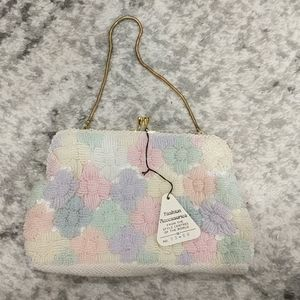 NWT Vintage Du Val pastel color beaded purse